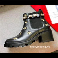 Wholesale snow boots women diamonds resale online - Martin Boots Ladies Brand Cowhide Luxury Bee Women Boots Leather High Hot Boots Fashion Diamonds size