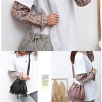 Wholesale cell u phone for sale – best CT73N bucket style fashion elegant tassel bag Korean Korean belt shoulder belt single style crossbody women s Guangzhou soft leather girdle u