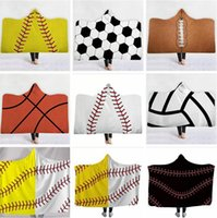 Wholesale geometric blanket resale online - Softball Blankets Adult Wearable Hooded Blanket Sporty Warm Blankets Baseball Softball Winter Sofa Bedding Cover Sea Shipping DDA697