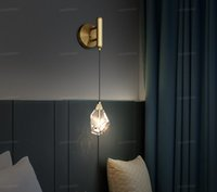 Wholesale crystal lightings resale online - Luxury K9 Crystal Wall Lamps Bedroom Bedside Modern Brass Lights for Living Room Corridor Loft Indoor LED Wall Sconce Lightings