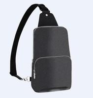 High Quality Real Leather Men Avenue Sling Bag Canvas Textile Lining Men Shoulder Bags Fashion Purses Handbags