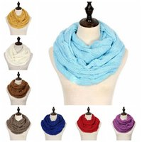 Wholesale circle wool scarves for sale - Group buy Fashion Knitted Warm Scarf Circle Loop Colors Wool Scarves Winter Scarf Women Men Neck Soft Scarves Party Favor DDA687