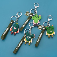 Wholesale 3d silicone keychain resale online - 3d Creative Cactus Keychain Soft Rubber Couple Keychain Three dimensional Expression Car Doll
