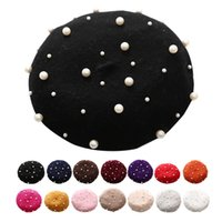 Wholesale black pearl cream resale online - Pearl Beret Hat for Women Cashmere Winter Retro French Winter Black Red French Artist Flat Fashion Red Yellow Lady Vintage Cap