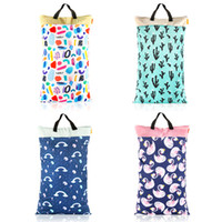 Wholesale size diaper resale online - HappyFlute Polyester PUL Waterproof Baby Bags for Mom Baby Stroller Use cm Big Size Double Packet Diaper Wet Bag C1008
