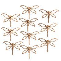 Wholesale 10 Pieces Alloy Dragonfly Flatback Embellishments DIY Scrapbook Decor Craft Gold
