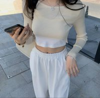 Wholesale skin tight tops resale online - Knitted smock Korean slim fit short T shirt thin early autumn new style skin tight Coat T shirt top with sunscreen top for women Vnfva Vnfva