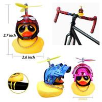 Wholesale blue handlebars resale online - Five Cartoon Yellow Silica Little Helmet Head Bicycle Light Shining Mountain Bike Handlebar Duck Head Light Lovely BWF2524