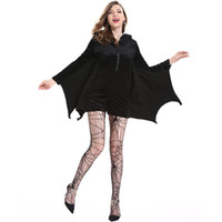 Wholesale batman dress women for sale - Group buy Halloween Female Cosplay Vampire Bat Costume Sexy Women Adult Cosplay Black Jumpsuit Connect Wings Batman Dress and Socks Gift