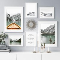 Wholesale houses lake painting resale online - Alps Ice Mountain Lake Boat Forest House Wall Art Canvas Painting Nordic Posters And Prints Wall pictures For Living Room Decor