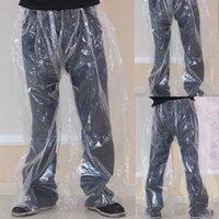 Wholesale rain pants resale online - 1pc Raincoats Transparent Disposable Rain proof Pants Portable Outdoor Travel Motorcycle Cycling Bike Rainwear Rain Covers
