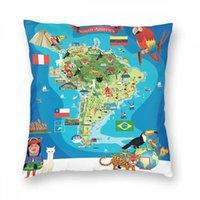 Wholesale throw pillows maps resale online - Cartoon Pillowcase Christmas Sofa Throw Pillowcase South America Cartoon Map Pillow Case Cover Pillowslip For Car Office Home Decor