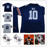 Wholesale college football resale online - Mens NCAA AU College Bo Nix Football Jersey Stitched White Navy K J Britt JaTarvious Whitlow Owen Pappoe Jersey S XL