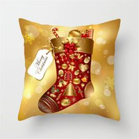 Wholesale christmas pillow resale online - Elk Santa Claus Pillow Case Christmas Cushion Cover Merry Christmas Ornament Xmas Gift Christmas Decorations For Home ZZA1519