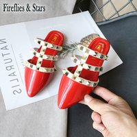 Wholesale baby shoes shine resale online - Spring Summer girls shoes baby sandals kids Rome shoes children brand sandals fashion shine PU rivet hollow out to yrs