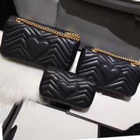 Cowhide Leather shoulder bag chain purse fashion wave chain purse cowhide handbag presbyopic card holder evening bag messenger Wholesale