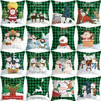 Wholesale pillowcase green for sale - Group buy hot Christmas pillowcase elk pillow case car sofa christmas tree cushion cover Green Green Plaid cushion cover short plush pillow T2I51580