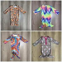 Girlymax newborn baby gown girls boutique clothing infant clothes nightgown cotton suits romper long sleeve tie dyed pumpkin1