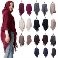 Wholesale knitted hood scarf resale online - Knitted Cape Coat With Cap Capes Scarves Hooded Hoodie Autumn Tassel Cape Hood Sweater Jumper Holiday Pashmina Clothes Clothing LJJP646