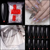 Wholesale pointy nails resale online - 500pcs Stiletto False Nail Tips Clear Natural Full Cover Pointy Fake Fingernails Acrylic UV Gel Polish Nail Salon Manicure Tools