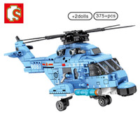 Wholesale helicopter military resale online - Sembo Z Helicopters Fighter Building Block Military Army City Plane Airplane Bricks Construction Children Toys For Boy wmtEVH