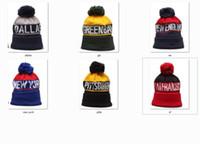 Wholesale sports beanie hats football teams for sale - Group buy New Beanies Football Beanies Sport Knit Hat Pom Pom Hats Hot NY GB SF NE Teams Knits Mix And Match All Cap