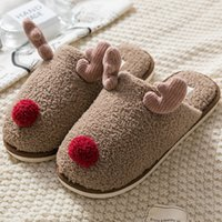 Wholesale animal house slippers for women for sale - Group buy Winter Slippers for Women Bedroom Wear resistant Warm House shoes Cartoon Deer Animal plush slippers with fur Indoor X1020