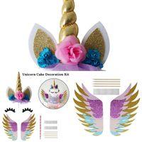 Wholesale girls 1st birthday decorations resale online - Shower Baby Headband with Satin Silk Sash Girl st One Year Birthday Decoration Unicorn Party DMZ6