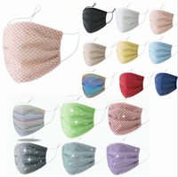 Wholesale rhinestone mask resale online - Diamond Mask Female Rhinestone Grid Net Masks Fashion Dance Club Mouth Cover Washable Sexy Hollow Masks Breathable Face Mouth Cover LSK1803