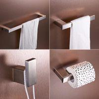 Wholesale Flg Brushed Nickel Stainless Steel Bathroom Accessories Set Single Towel Bar Cloth Hook Paper Holder Bath Hardware Sets bbycgu
