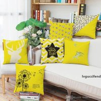 Wholesale line cartoon cases online – custom Yellow fresh cartoon animal pillow cases D digital printing line couch pillowcase Home office square cushion cover