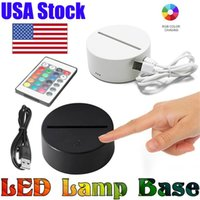 USA Stock RGB led lights 3D Touch Switch Lamp Base for Illusion 4mm Acrylic Light Panel 2A Battery or DC5V USB