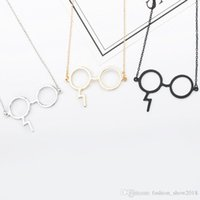 Wholesale harry potter glasses for sale - Group buy Necklaces Jewelry Black Gold Silver Plated Jewelry Harry Glasses Necklaces Magic Glasses For Potter Fans Fashion Punk Jewelry