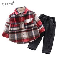 Wholesale denim suit for baby resale online - Baby Boy Clothing Set Fashion Winter Padded T Shirt Pants Children Boys Clothes Long Sleeve Suit for Kids Denim Outfit C1108