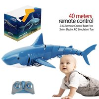 Wholesale swimming pool toys boats resale online - 2 g Simulation Shark Shape Remote Control Boat Free Swim Electric Rc Simulation Toy For Outdoor Swimming Pool Pond wmtthC otsweet