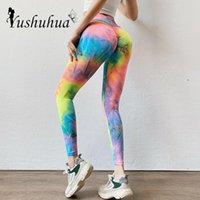 Wholesale colorful running tights resale online - Yoga Pants for women Tie dye high waist Sports Pants Sexy Gym colorful leggings elastic New Lift Hip Finesse Running Tights