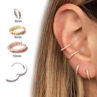 Wholesale earrings rainbow resale online - Rainbow Zircon Circle Hoop Earring for Women Fashion Round Small Simple Cartilage Earrings Hoops Party Wedding Jewelry Gift