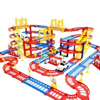 ingrosso automobili elettriche diy-Train Car Rail Track DIY 3D multistrato Electric Construction veicoli di modello Assemblare Giocattoli educativi regalo per i capretti ragazzo dei bambini