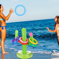 Wholesale inflatable swim set resale online - 1 Set Inflatable Cactus Ring Toss Game Set Floating Swimming Ring Summer Outdoor Children s Intelligence Interactive Beach Game wmtWIr