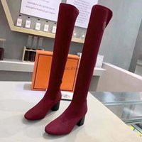 Wholesale sexy denim boots for sale - Group buy Ladies Winter Sexy Fashion Tall Boots In Name Brand Red Bottom Shoes Turelaboot Alta Eloise ankle boots Thin Thick Hee D11