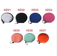 Wholesale flat keyring for sale - Group buy Sublimation Face Masks Purse RTS Plain Color Earbud Case Bag Neoprene Zipped Coin Purses Round Face Cover Bag With Keyrings LSK1580