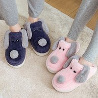 Wholesale boys home slippers resale online - Women Winter Warm Fur Slippers d Embroidery Cartoon Dog Soft Sole Men Women Boys Girls House Shoes Home Indoor Bedroom Slippers X1020