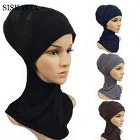 Wholesale turban headband hijab resale online - Siskakia Bottoming Headband for Women Ethnic Bandage Arabic Muslim Modal Cotton HeadWrap Cap Turban Hijab Accessories Hair scarf