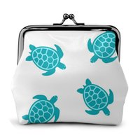 Wholesale turtle purses resale online - OLN Turquoise Turtle White Print Fashion Women Wallet Small Ladies Purse Female Wallet Coin Purse