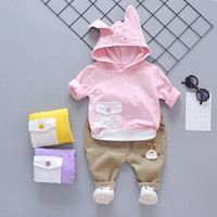 Wholesale baby clothes rabbit suits for sale - Group buy Toddler Girls Clothes Autumn Rabbit Ear Hooded Top Children s Clothing Years Old Cartoon Baby Suit C1016