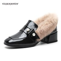 Wholesale shoes for rabbits for sale - Group buy Gentle Slip on Patent Leather Pink Mid Thick heeel Pumps Winter New Square Toe Rabbit Fur High Heels Designer Shoes for