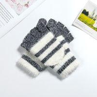 Wholesale rabbit fur hand wrist warmer resale online - Cokk Women Fingerless Gloves Cute Faux Rabbit Fur Stripe Knitted Gloves Female Winter Knitting Warmer Wrist Hand Gloves Mitten Swy jllEQs