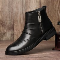 Wholesale boots men side for sale - Group buy Vintage Top Quality Plush Warm Winter Men Casual Genuine Leather Ankle Boots Male Side Zipper Brogue