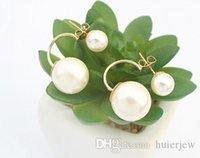 Wholesale bridal earings resale online - Pearl Earings Fashion Jewelry Korean Double Pearls Earrings Bridal Gold Earrings big candy ball Stud Earings