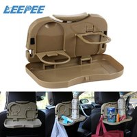 Wholesale car cup holder resale online - LEEPEE Hot Selling Foldable Car Back Seat Table Auto Drink Cup Tray Holder Stand Desk Car Accessories